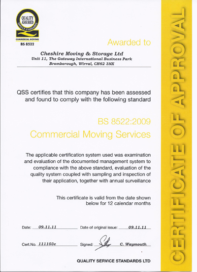 BS 8522:2009 Commercial Moving Services